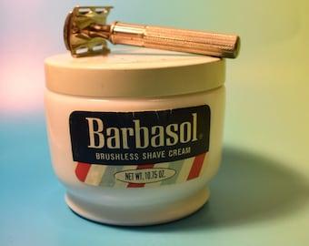 Vintage Milk Glass Barbasol Shave Cream Container and Gillette Razor Set