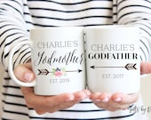 Gifts Ideas for Godparents, Godparent mugs, Godparent gifts, Godmother gift, godfather gift, Godparent Request Baby Announcement Asking m397