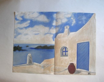 vintage original painting, view of a Greek aegean island, signed