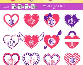 Valentine's Day HEART FRAME SVG Dotted monogram svg Border clipart download svg Valentine monogram svg cricut frame dxf Silhouette diy 126