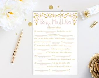 Baby Shower Mad Libs Game ~ Pink and Gold Baby Shower Game ~ Baby Girl  ~ Printable Game Polka Dots 0024PG