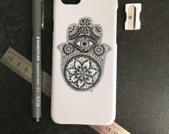 Hamsa Hand iPhone 6 Cover, Hamsa iPhone Case, Unique iPhone 6 Case Artwork, Monochrome Zentangle iPhone 6 Case, Hippie iPhone 6 Cover