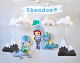 Baby mobile Knight Dragons Nursery mobile Clouds Mountains Crib Cot mobile Baby boy hanging mobile Personalized name banner 100% wool felt