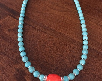 Orange bamboo and turquoise necklace