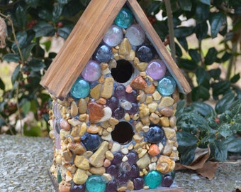 Mosaic Birdhouse with Gem Flower on Sides Bird House Stone Cobblestone Rustic