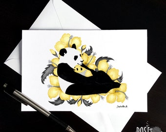 New mom card, Pandas Yellow or Pink
