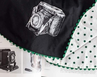 Girl Size 6 Reversible Vintage Camera and Green and White Polka Dot Twirly Retro Circle Skirt | Back to School Zeiss Ikon Party Summer Skirt