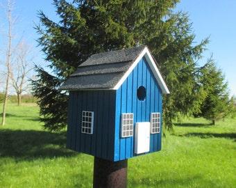 Blue Birdhouse, Handmade Bird House, Outdoor Wood Birdhouse, Functional Birdhouse, Unique Birdhouse, Country Birdhouse