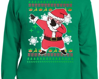 LiberTEES Big and Tall King Size Funny Dabbing Santa Ugly Christmas Sweater