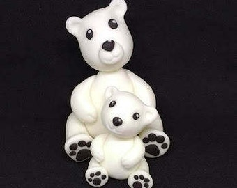 Polar bear cake topper set, handmade, edible
