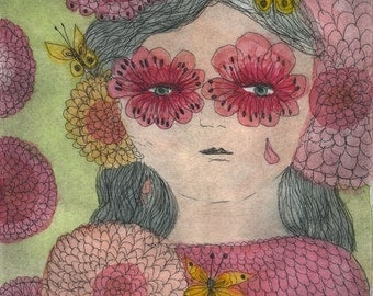 Les yeux-fleurs roses - The pink flowers-eyes Original Etching