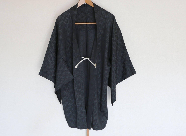 Vintage Japanese kimono Jacket /// Haori Black Jacket Silk