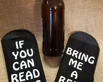 Bring Me Beer socks, Beer Socks, Father's Day Gift, Dad gift, Dad socks, if you can read this bring me a beer, socks, novelty socks, gift