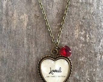 Handmade Heart Shaped Glass Pendant