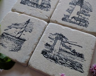Light Houses Coaster set, Set of 4, Natural Tumbled Stone, Rustic Chic Home Decor gift