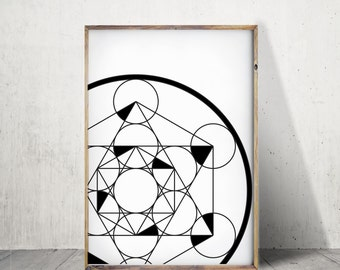 Sacred Geometry Print Black And White Prints Sacred Geometry Poster