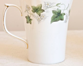 "Duchess vintage white ""Ivy"", tall teacup, coffe mug, Tea. Bone china England. Ideal for Tea & Coffee lovers, tea party, housewarming"