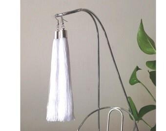 White tassel earrings, wedding earrings, bohemian earrings, fringe earrings, long earrings, hippie earrings, earring hooks, clip on earrings