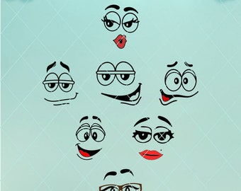 Cute faces / Faces SVG / Smiley faces / Silly Faces / Smile svg / Smiles dxf / M and M