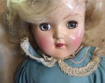 "Ideal P90 Toni Hard Plastic Doll 15"" original clothing Blond"