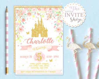 Girls Glitter Princess Castle Invite | Birthday Party Invitation | Floral Flowers | Digital Download Customised Personalised | Printable