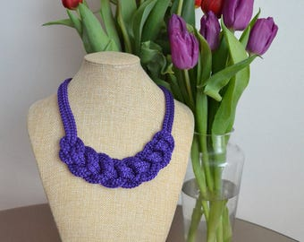 Purple nautical necklace- Rope necklace- Knotted necklace- Statement necklace- Bib necklace- Rope jewelry- Christmas gift for her