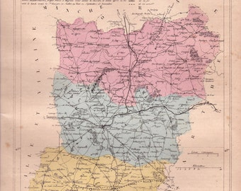 Detailed map of the Department of MAYENNE. 1880 colors. Beautiful details. France.