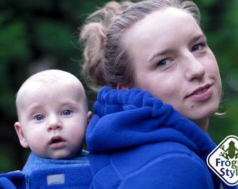 Tandemwearing, Extra baby insert for 3-in-1 Front/Back Babywearing Jacket FROGGY STYLE, kangaroo hoodie fleece coat, blue