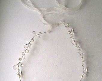 Bridal silver hair band, hair vine, crystal