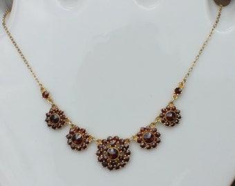 Vintage Bohemian Garnet Flower Cluster Necklace Siver Gilt