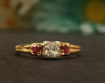 Vintage Diamond and Ruby Engagement Ring
