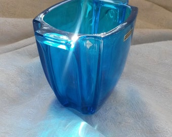 Blue Glass Vase, Walther Glass, Blue Vase, Thick Blue Glass Vase, Stunning Blue Vase