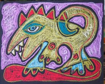Dinoguana Oil Pastel Original Drawing