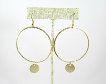 Large Gold Hoops with Circle Dangle Earrings