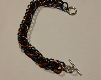 Copper/Blue/Black Half-Persian 3in1 Chainmaille Bracelet