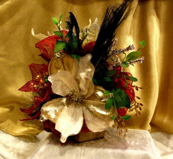 "Christmas Fabulosity Cube #3 Peacock Feathers, Gold & Red Christmas Silk Floral Arrangement in 3"" Hand Painted and Marbleized Square Base"