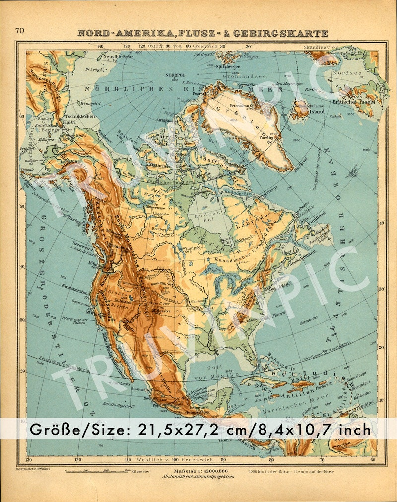 Vintage Map USA  Instant Download Rivers And Mountain - Full usa maps