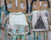 Kids Room Art - Primitive Painting - Outsider Art - Home Decor Art - Outsider Painting - Whimsy Painting