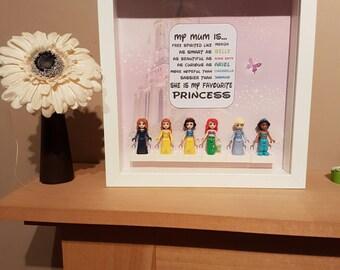 Disney princess frame, Disney princess gift, Lego frame, Lego gift, mummy gift, special mum, princess gift, princess frame, Lego minifigures