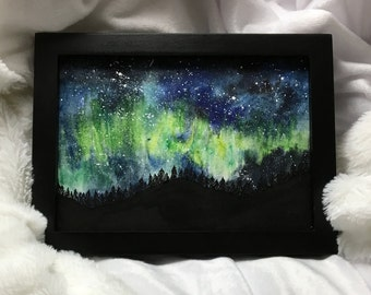 ORIGINAL Watercolor/Ink Painting of the Northern Lights
