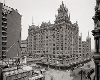 Philadelphia, PA Photo - Broad Street Station, Historical Photograph, Sepia Photos, Pennsylvania Architecture, Wall Decor, Fine Art Print