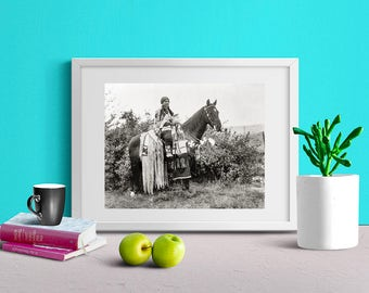 Native American Indian Photo, Cayuse Woman on Horseback, Early 1900s, Oregon, Indigenous Native American, Black and White Photo Print