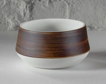 Porcelain Serving Bowl - Black Stoneware Slip and Raw Porcelain with White Glaze- Modern Design- Salad Bowl- Soup Bowl
