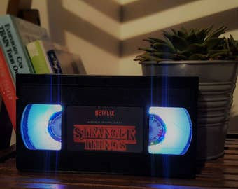 Retro VHS Stranger Things Night Light Table Lamp. Order any film! Great personal gift. Man Cave.