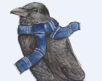 Harry Potter inspired Ravenclaw card - watercolour design greetings card