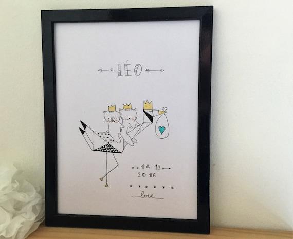"""Graphic poster """"Choumi et Michou  : la cigogne- graphic design poster."""