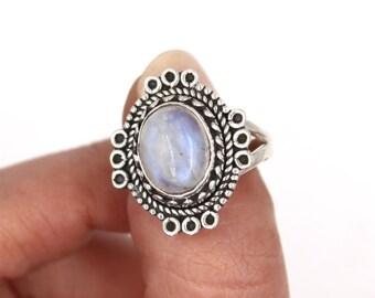 BOHO Rainbow Moonstone & 925 Sterling Silver Ring S. US 7.5 / FR White Labradorite Blanche