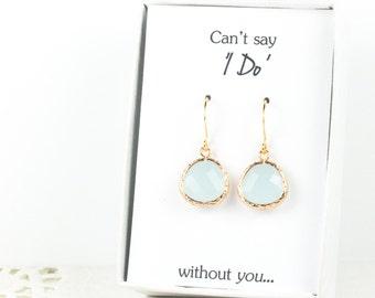 Blue Sea Opal Gold Earrings, Gold Blue Opal Earrings, Bridesmaid Jewelry, Blue Bridal Accessories, Blue Wedding Jewelry