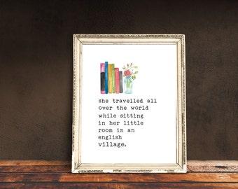 She Travelled Print, Roald Dahl Print, Quote Print, Watercolour Print, Minimalist Print, Wall Art, Roald Dahl Quote Print, Printable