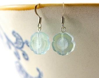 transparent aqua Green Flower Earrings